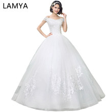 AMYA V Neck Cheap Wedding Dresses Lace Up Elegant Bridal Gown Vintage Plus Size Vestido De Noiva Real Photo cheap wedding dress(China)