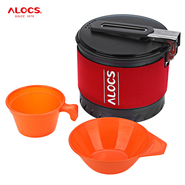 ALOCS CW - S10 Outdoor Camping Cookware 1.3L Camping Pot with Folding Handle Heat Exchange with Bowl Cup