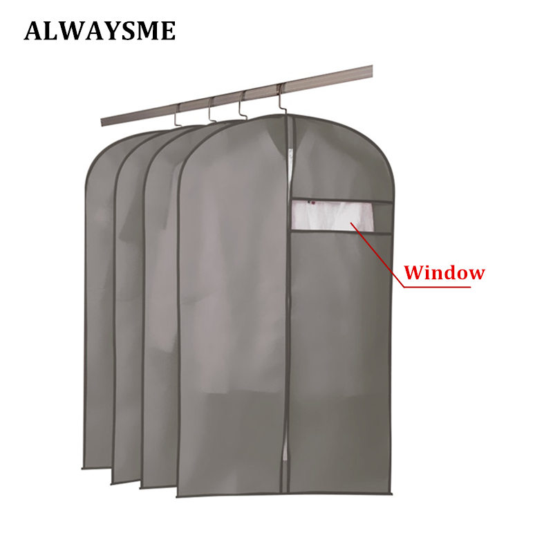 ALWAYSME With Window Watch Home Storage Protect Cover Travel Bag For Garment Suit Dress Clothes Cover Clothes Storage Zipper Bag