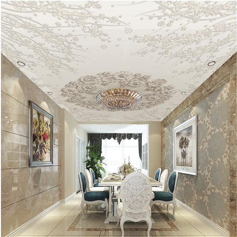 Wellyu Custom Wallpaper 3d обои Fresh And Luxurious European Three-dimensional Embossed Flowers Hanging Ceiling 3d Wallpapers