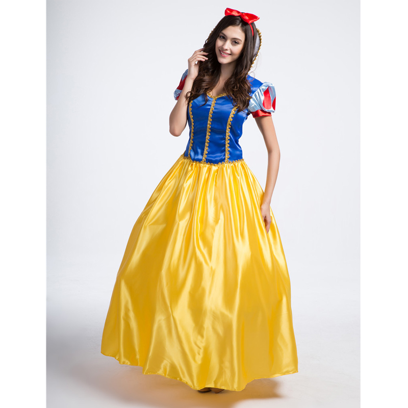 Snow White Fairytale Princess Dress Cosplay Costume Adult Women Fancy Party Dress Halloween Performance Costumes