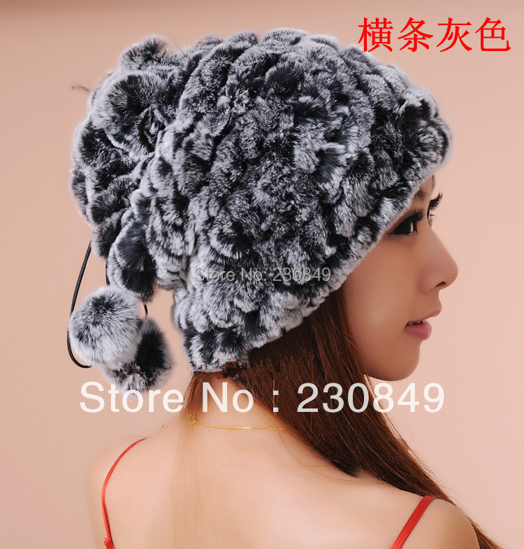 ФОТО Free shipping Christmas hats really rabbit fur in autumn and winter, Rabbit fur scarves, Rex wool knit cap Women