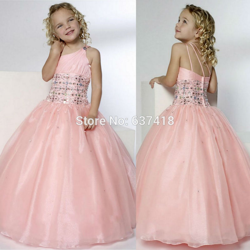 Aliexpress Buy 2015 One Shoulder Flower Girl Dresses For Wedding With Crystals And Sequins