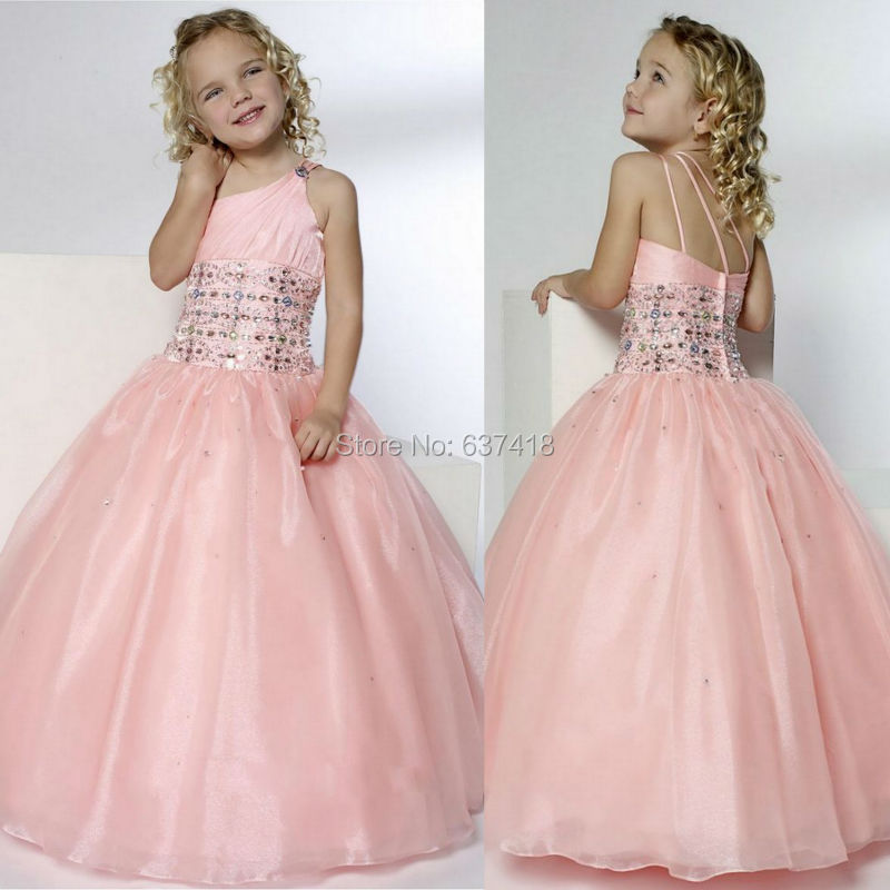 One Shoulder Flower Girl Dresses For Wedding With Crystals And