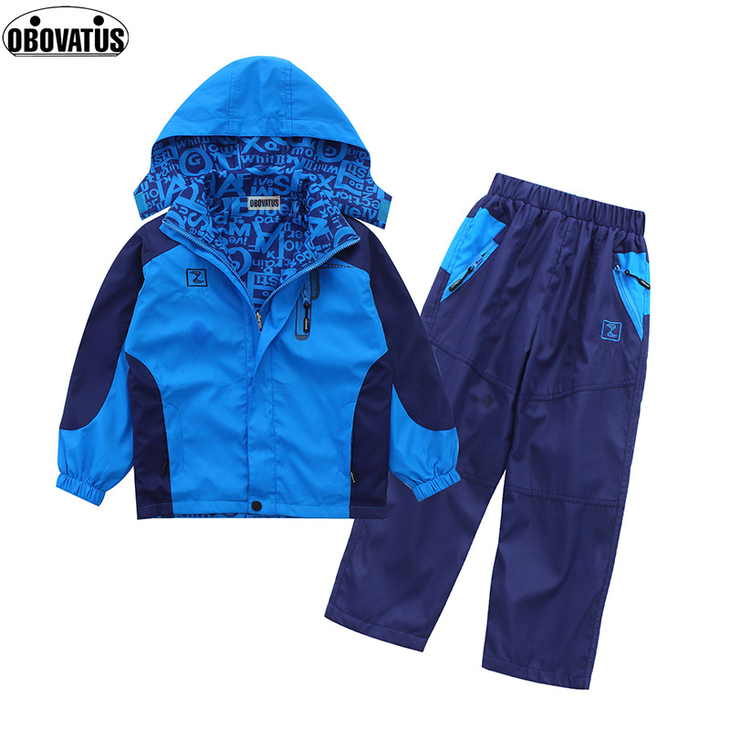 Kids Waterproof Windproof Raincoat Suit Boys Clothes Set Kids Hooded Jacket+Pants Sports Suit 2017 Spring Children Clothing