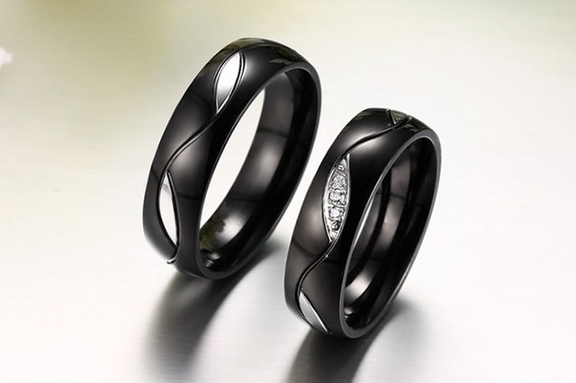 Black Wedding Lover Rings CZ Couple 316l Stainless Steel Ring