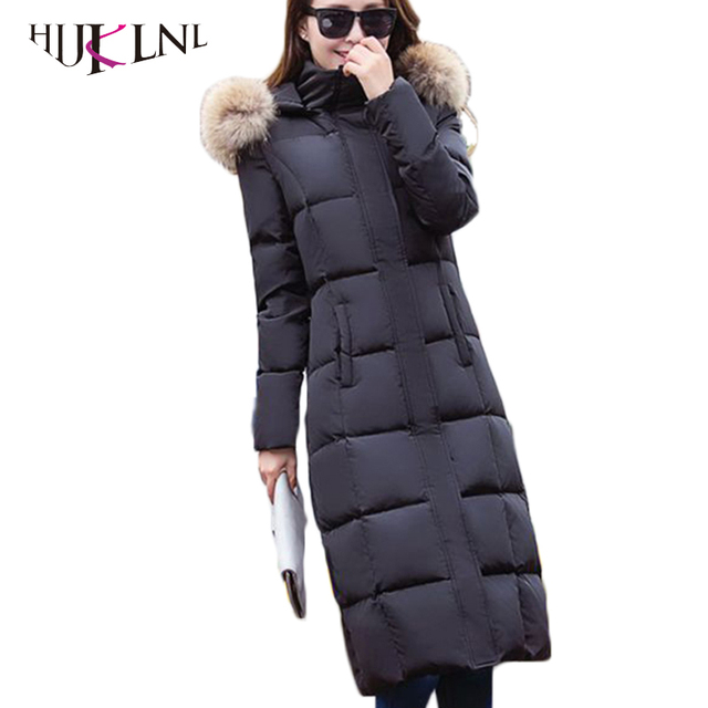 HIJKLNL 2017 hooded down jacket for women puffer jacket with real raccoon fur collar x-long down parks for women in winter LZ349