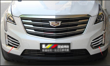 For Cadillac XT5 2016 2017 ABS Chrome plastic Front Fog Light Lamp Insert Cover Trim 6pcs фото