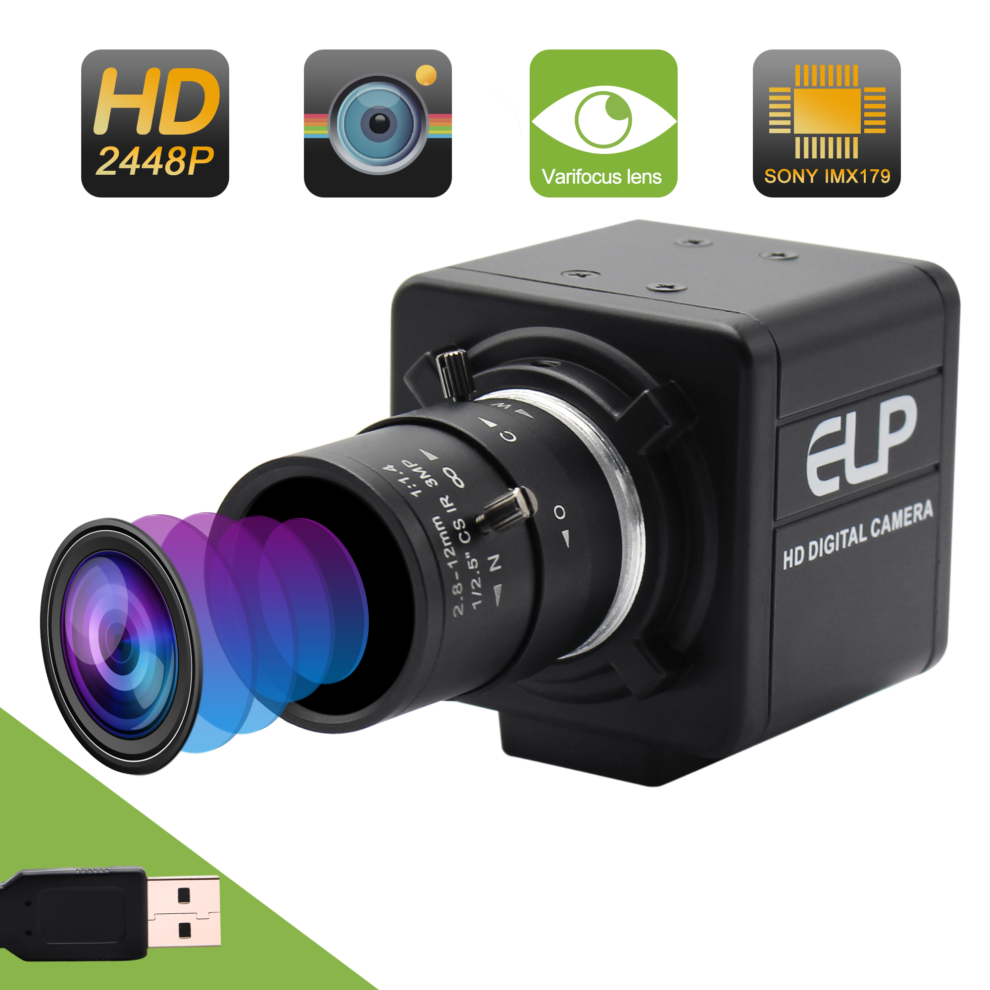 ELP 8MP 3264X2448 USB camera Surveillance Cameras CMOS Sony IMX179 2 8 12mm varifocal lens usb