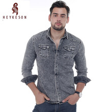 HEYKESON Men Shirt Brand 2017 Male Long Sleeve Shirts Casual Solid Color Denim Slim Fit Dress Shirts Mens XXXL 3011