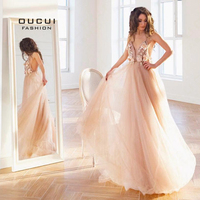 Sexy V Neck Robe De Soiree Longue 2019 Evening Dresses Long A Line Lace 3D Flower Prom Dress Special Occasion Ball Gown OL103253