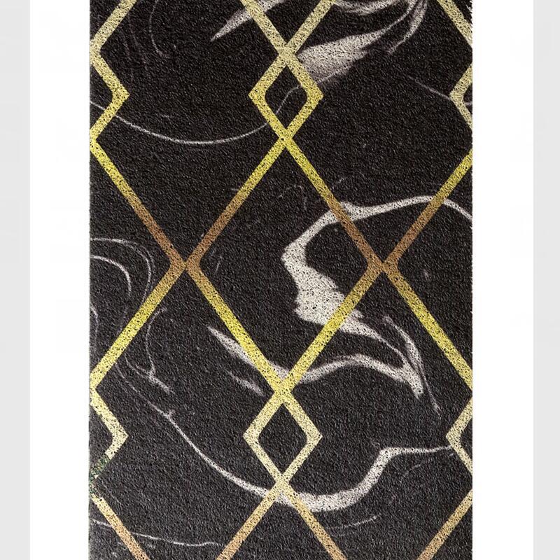 Vente chaude lignes d'or motif résistant à la saleté tapis de sol maison entrée tapis de sol porte tapis zone extérieure tapis 120x100 cm