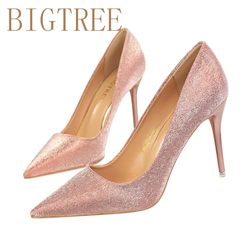Spring Autumn Fashion sweet women pumps 9.4 CM Fine high heels Shallow mouth Pointed shine Fight color Gradient rainbow shoes 14cm sexy fine with nightclub shiny diamond high heels spring and autumn shallow mouth princess wedding shoes