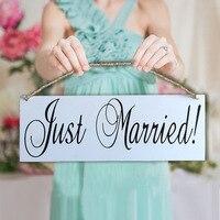 Legno just married banner sign giorno delle nozze fotografia puntelli decorazione di cerimonia nuziale just married appeso bandiera
