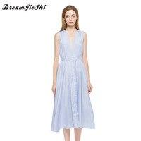 Dreamjieshi Summer New Arrival Women Cute A Line Striped Sleeveless Draped Mid Calf Deep V Neck
