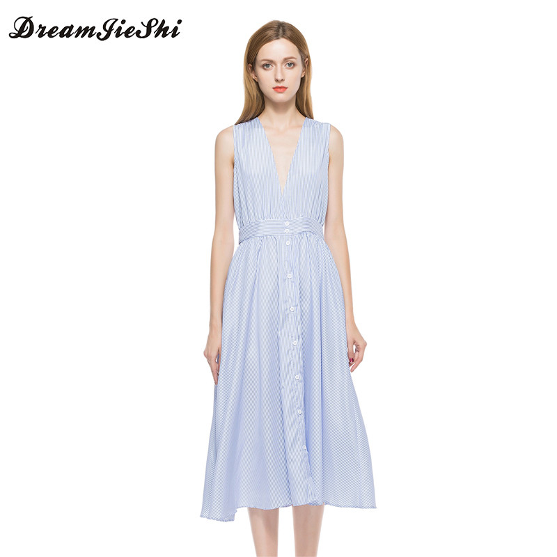 Dreamjieshi Summer New Arrival Women Cute A Line Striped Sleeveless Draped Mid Calf Deep V Neck