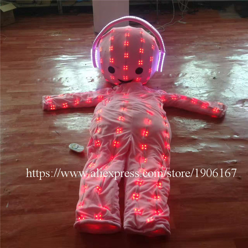 RGB Colorful Led Luminous Big Head Doll Led Glowing Ballroom Costumes Stage Party Halloween Christmas Performance Clothes