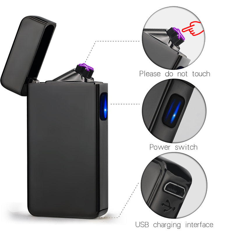 Metal New Design Rechargeable Electronic USB Lighter Cigarettes Pulse Windproof Double Arc Electric Lighters Plasma Flameless
