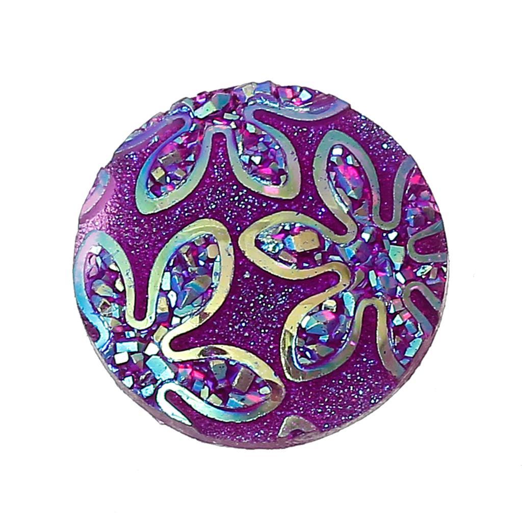 DoreenBeads Смола Украшения Выводы круглый фиолетовый цветочным узором 18 мм (6/8 «) Диаметр, 1 шт.