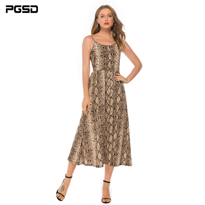 PGSD Summer Holiday Nightclub Snake skin Leopard-print Chiffon sexy Sleeveless Backless Sling Long Dress Fashion women clothes