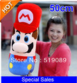 Free Shiping 50cm=19.7inch Large Pillow Mario Plush Pillow,High Quality Super Mario Bros Plush Doll
