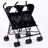 Christmas gift for twins infants Mutiple Stroller Folding Travel Double Pram Two Seat carriages Umbrella pram black poussette