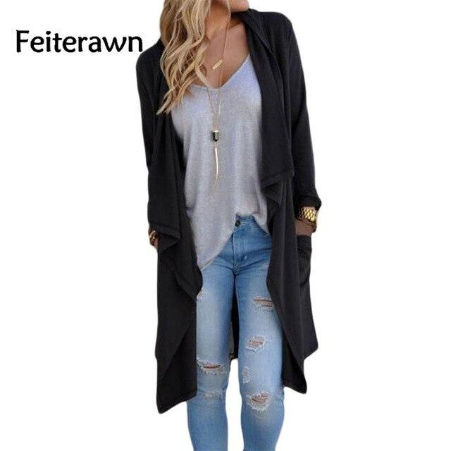 Feiterawn 2017 Fashion Cardigan Black Grey Drapery Open Front Back Slit Oversize Coat For Women Cheaply Wholesale DL85034