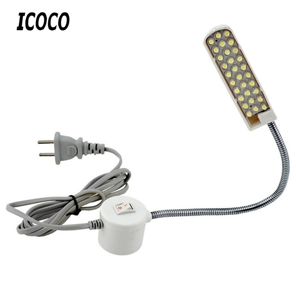 ICOCO US Portable Sewing Machine Light LED Light 2W 30LED Magnetic Mounting Base Gooseneck Lamp For All Sewing Machine Lighting