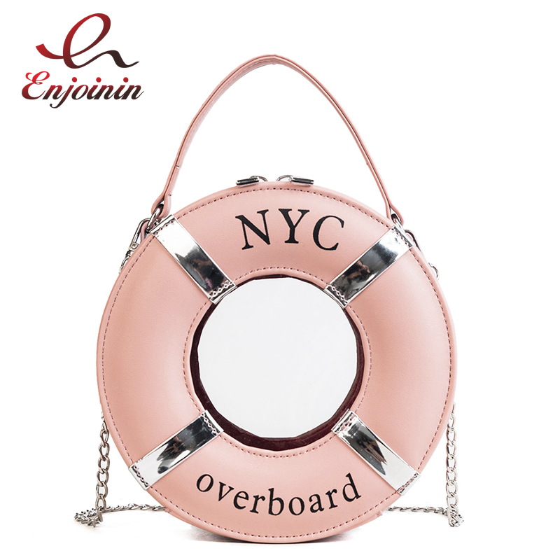 Personality Unique Fashion Lifebuoy Round Design Pu Leather Women's Casual Totes Shoulder Bag Tote Mini Messenger Bag Handbag