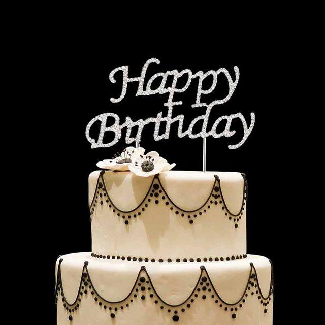 Online Shop Rhinestones Happy Birthday Cake Topper Kid Boy Girl