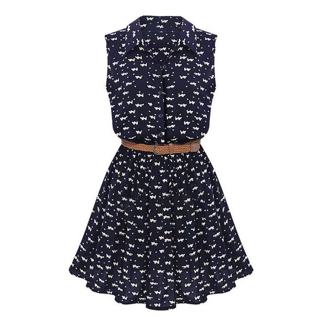 SNOWINSPRING Novo Projeto do Verão Camisas Novas Mulheres Vestido Gato Pegadas Padrão Mostrar Fina Camisa de Vestido Casual Vestidos com Cinto