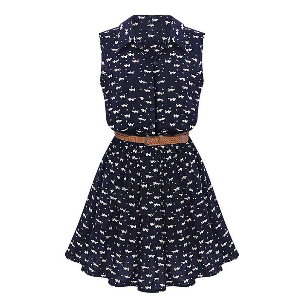 TFGS New Design Summer New Women Shirts Dress Cat Footprints Pattern Show Thin Shirt Dress Casual Dresses with Belt