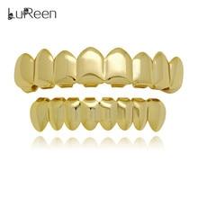 LuReen Fashion Gold Teeth Grills Hiphop Top & Bottom Grills Dental Punk Halloween Vampire Teeth Caps Jewelry LD0007