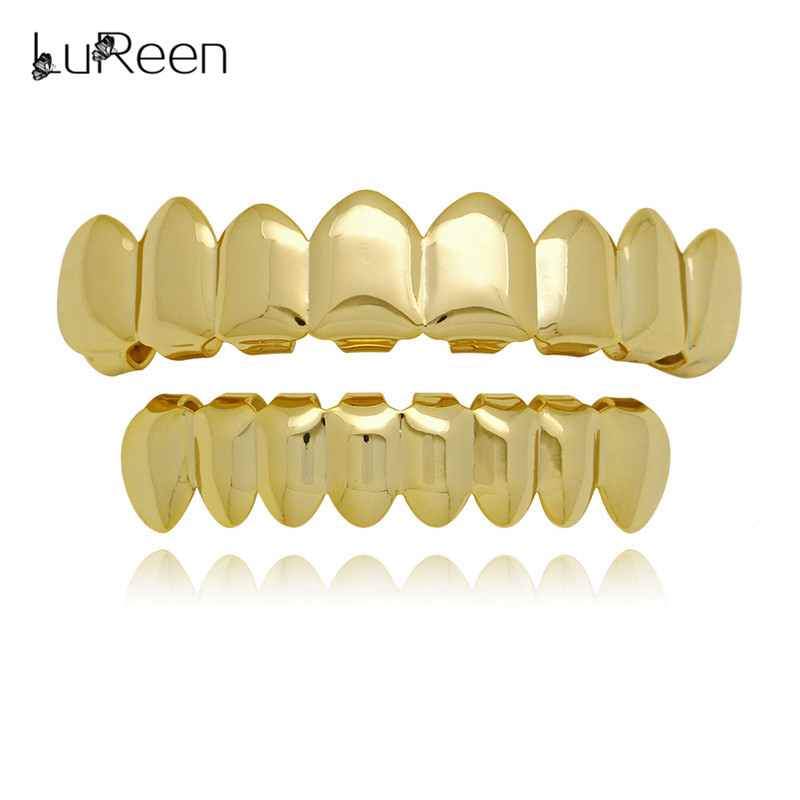 LuReen Hip Hop Gold Teeth Grillz Parte superior e inferior del diente Parrillas Dental Cosply Grill Vampire Teeth Caps Joyería del cuerpo Regalo del partido