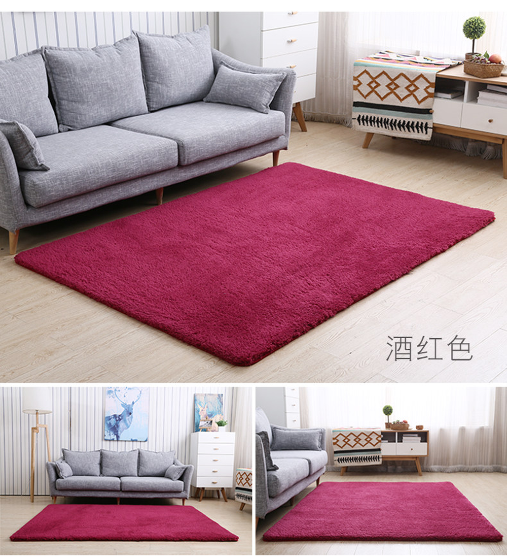 US $16.75 33% OFF|High Quality Red Cashmere Pure Color Carpet Bedside  Blanket Pad High Density Thicken Rugs Living Room Foyer Bedroom Floor  Mat-in ...