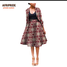 2017 Fall suit for women AFRIPRIDE african lothing two-pieces full sleeves top+ knee-length skirt formal work place A722632