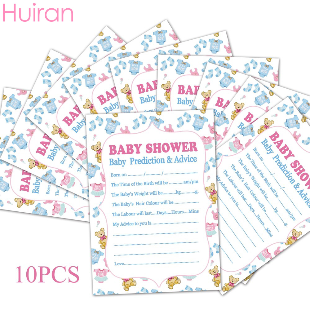 Huiran 10pcs Cards Baby Prediction Advice Souvenir Game Baby Shower Decor Christening Boy Girl Decor Birthday Party Supplies image