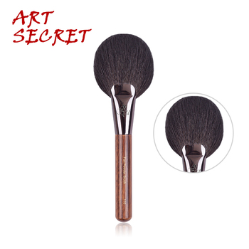 Artsecret Fan #110 polvo cepillo cosmético para maquillaje fino pelo de cabra azul ardilla láser mezclado Logo pistola aluminio virola mango de madera