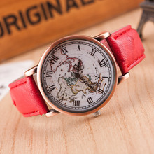 Fashion Relogio Women Watches World Map Roman Watch Top Brand Quartz Watches Retro Gift Faux Leather Band Clock Relojes Mujer