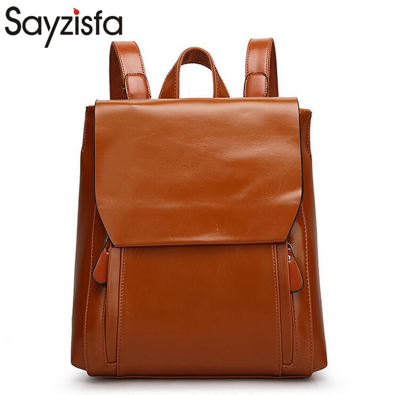 Sayzisfa Women Backpack Leather Mochila Girls Fashion bagpack Postman Bag For Teenagers Shoulder bags High capacity