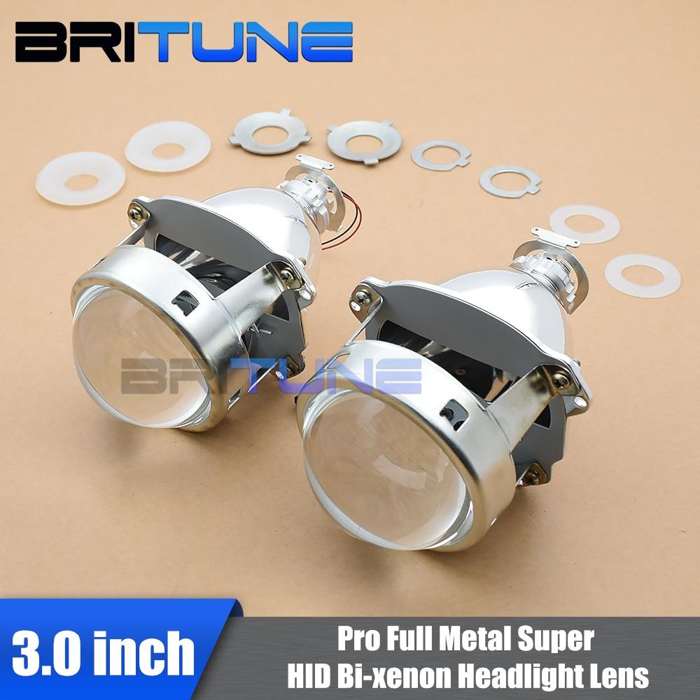 Britune Headlight Lenses Bi xenon HID Projector 3 0 Super Full Metal H1 Xenon Lens For