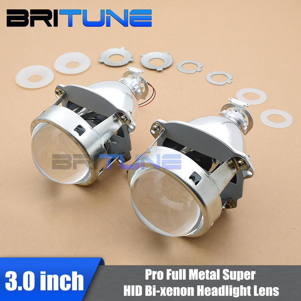 Universal Super 3.0 Full Metal HID Bi-xenon Projector Lens For H4 H7 Cars Headlamp DIY Styling Retrofitting Use H1 Xenon Bulbs