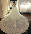 Royal Design Ball Gown Wedding Dresses Long Sleeve Off Shoulder Beaded Lace Long Train Luxury Bridal Gowns Vestidos de noiva