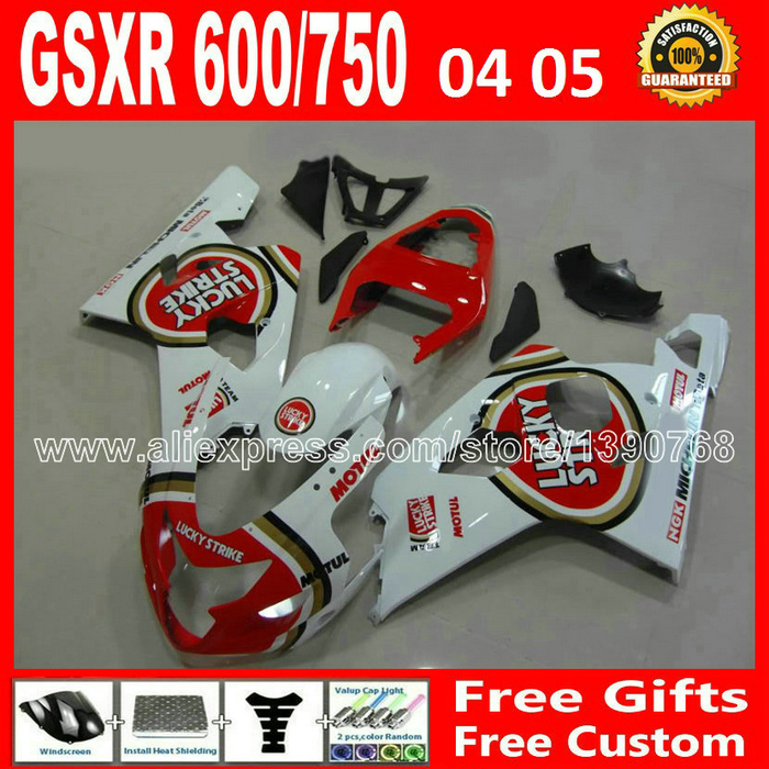 ABS for red white 2004 2005 motorcycle SUZUKI GSXR 600 750 plastic fairing kit K4  gsxr600 WXT 04 05 gsxr750 fairings kits moto custom road fairing kits for suzuki glossy flat black 2006 gsxr 1000 k5 2005 gsx r1000 06 05 motorcycle fairings kit