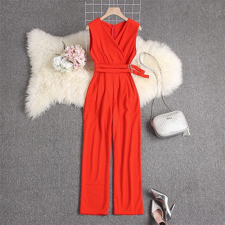 ALPHALMODA 2019 Spring Ladies Sleeveless Solid Jumpsuits V-neck High Waist Sashes Women Casual Wide Leg Rompers 82
