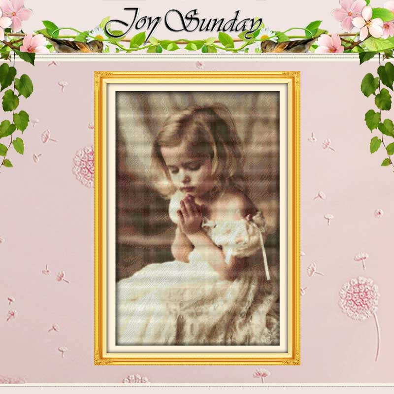 The Pray Girl mønstre Counted Cross Stitch 11 14CT Cross Stitch engros Cross Stitch Kit Broderi for Home Decor Needlework