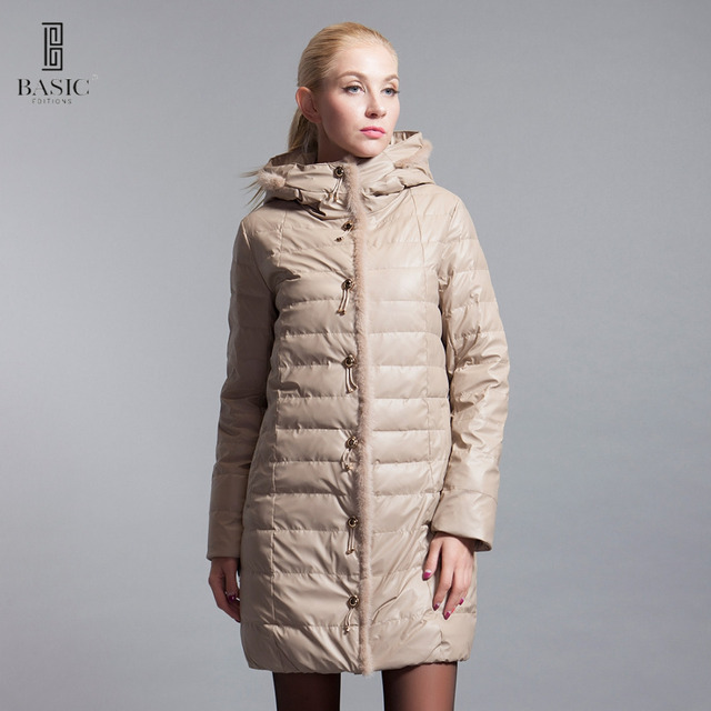 Basic Edition Winter Jacket Women Long White Duck Down Parka Raccoon Fur Tassel Buttons Female Jacket Winter Coat  14W-09