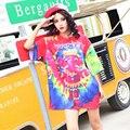 2017 новая коллекция весна многоцветной печати с коротким рукавом о-образным вырезом футболка женский свободный средней длины Футболки