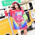 2017 new  spring multicolour print short-sleeve o-neck t-shirt female loose medium-long T-shirts