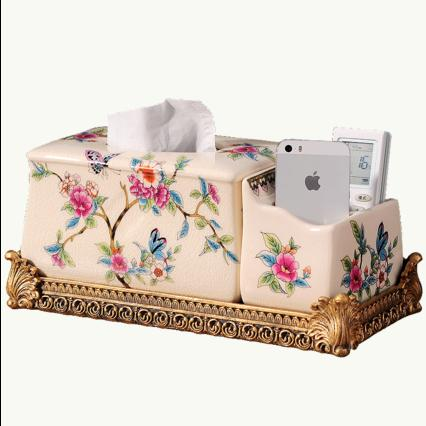European style ceramic multifunctional tissue box creative living room American garden remote control storage